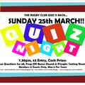 Rugby Club Quiz Returns - Sunday 25th March