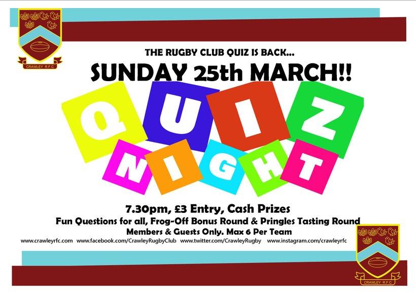 Rugby Club Quiz Returns Sunday 25th March News Crawley Rfc