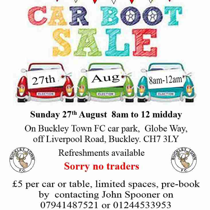 Car boot sale and Open Day to be held at BTFC on Sunday 27th August 8 to noon