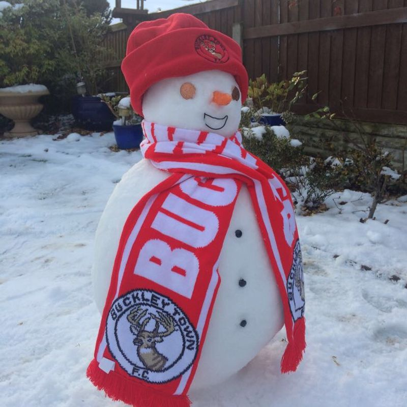 One hardy soul, not aware that Buckley Town FC's match was off on Saturday!