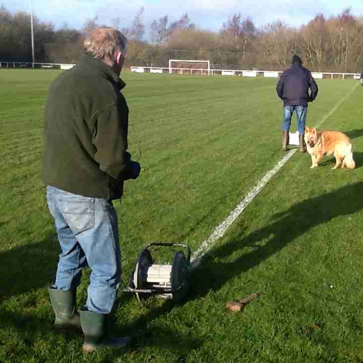 Pitch preparations continue for  FAW Trophy match, on Saturday 13th January, at the Globe.