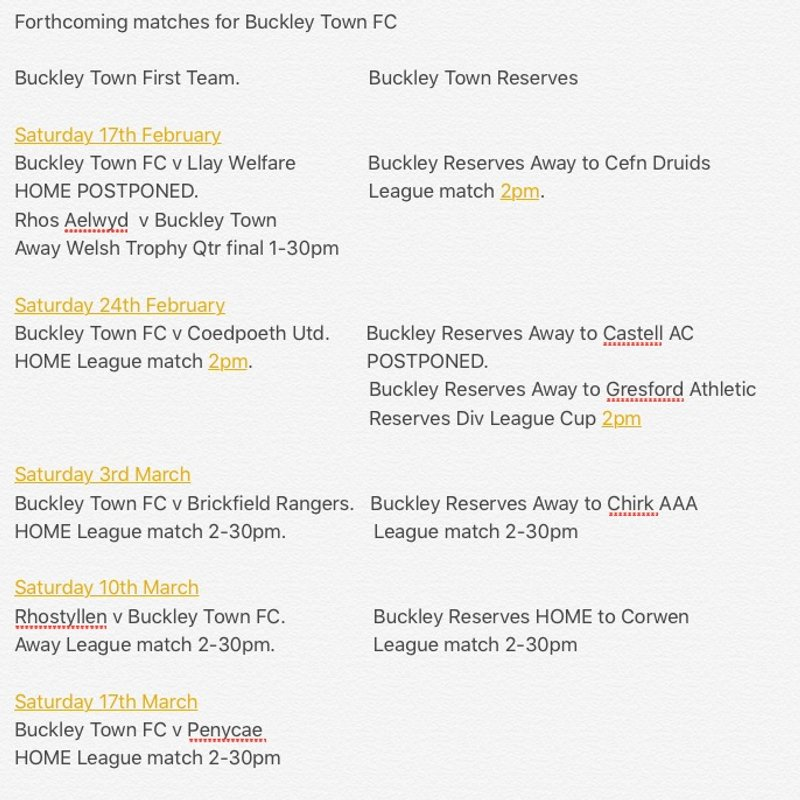 Updated fixtures for Buckley Town FC