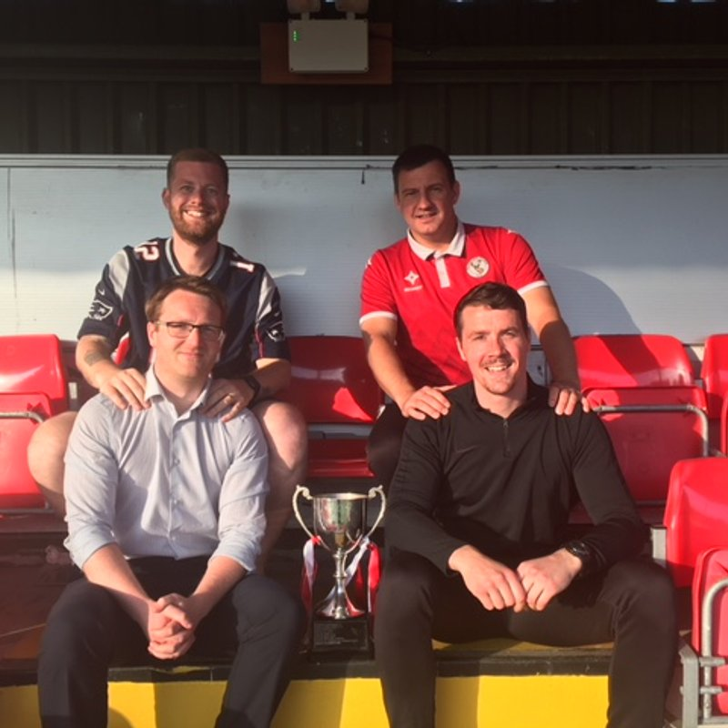 Promoted Champions, Buckley Town FC receive the Welsh National Premier League Trophy
