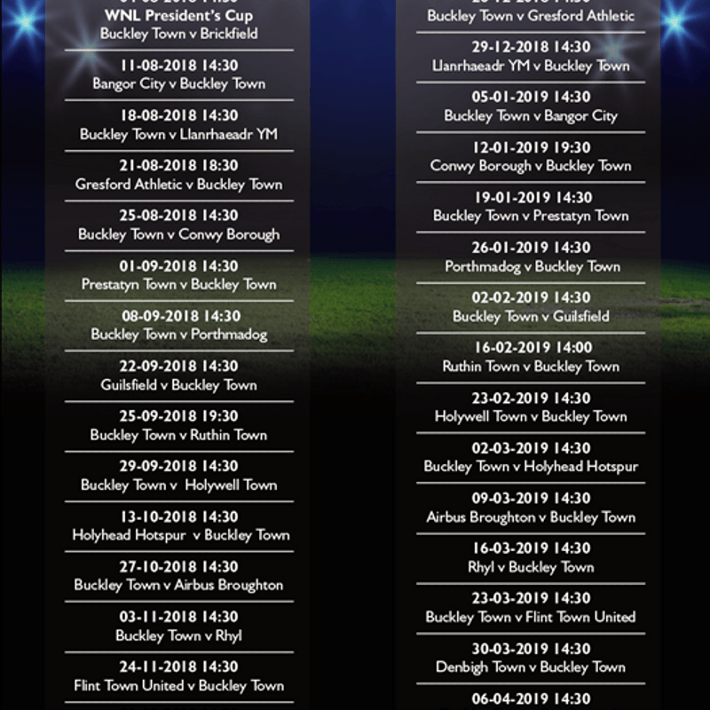 Season 2018/19 fixtures for Buckley Town Football Club
