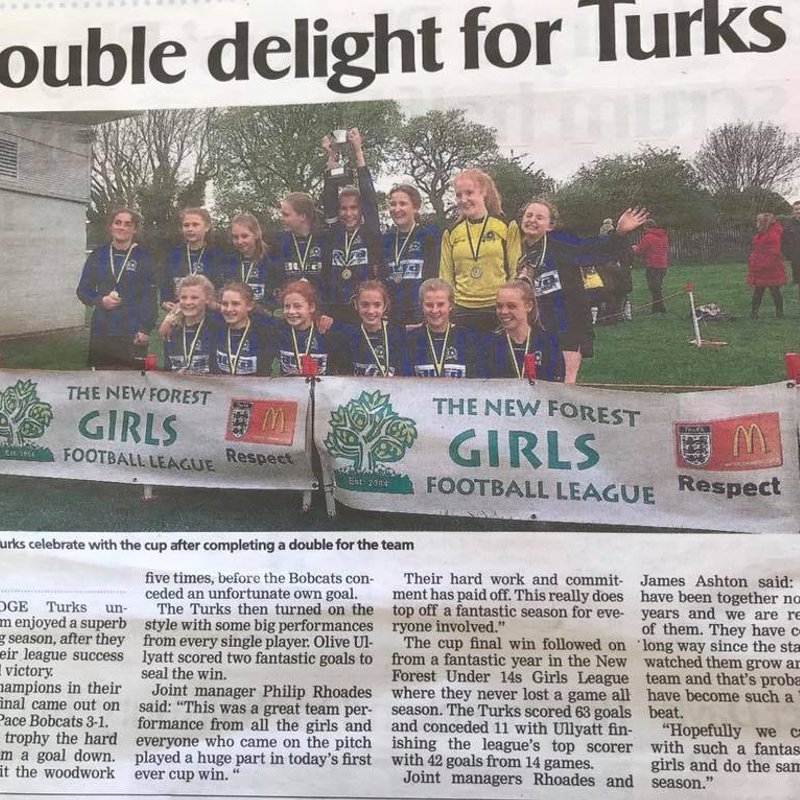 Turks FC U14 Girls are in the Journal!