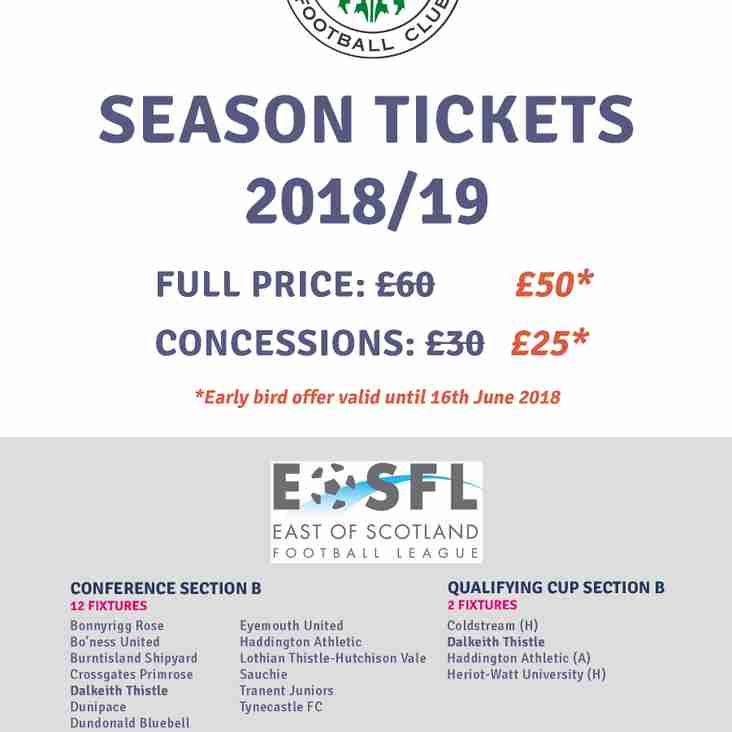 SEASON TICKETS for 2018/19 on sale now