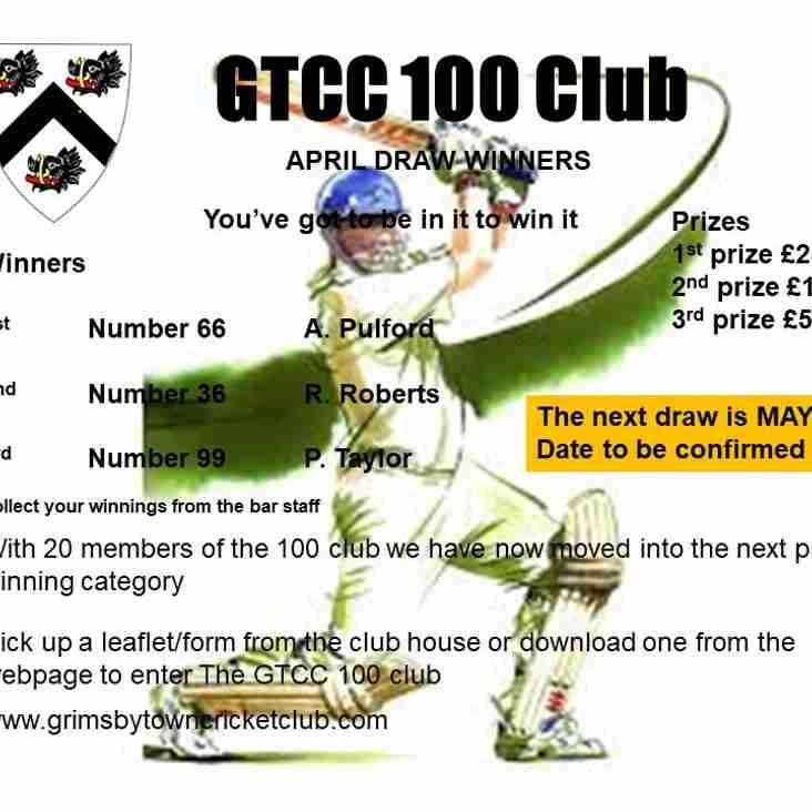 GTCC 100 Club April Draw