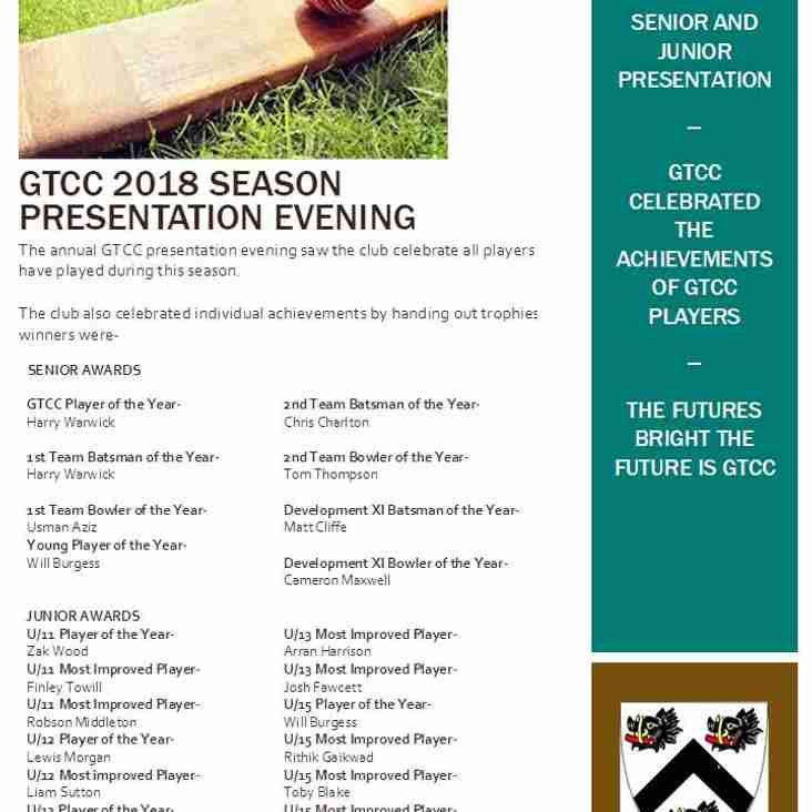 GTCC 2018 Player Awards