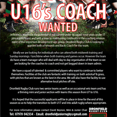 U16 Team Coaches Required