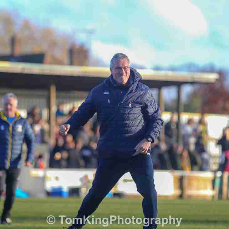 Tim Flowers reacts to Hitchin victory