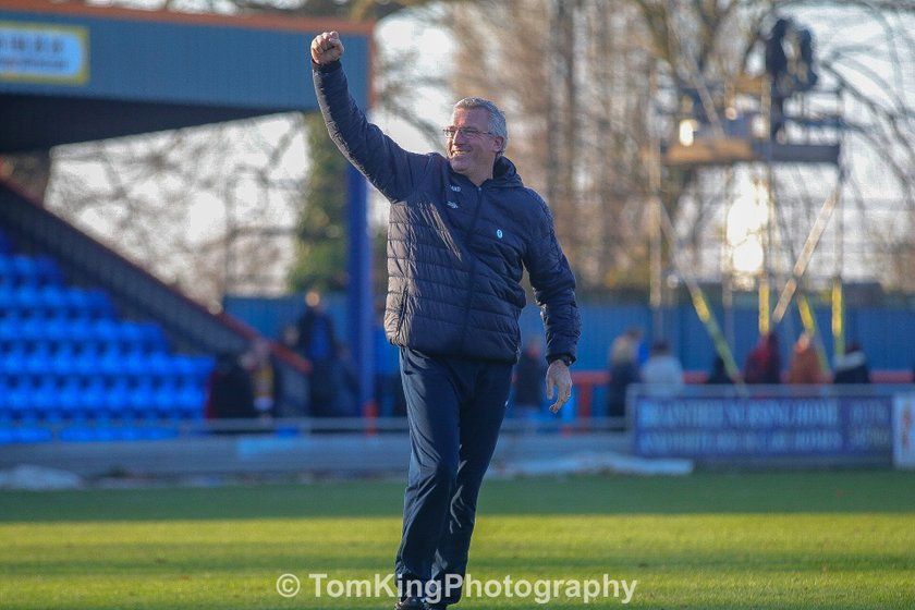Tim Flowers reacts to Braintree victory