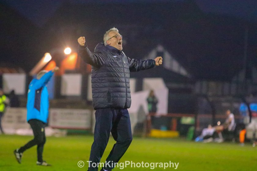 Tim Flowers reacts to Maidenhead victory