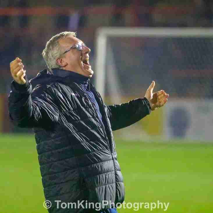 Tim Flowers reacts to Aldershot victory