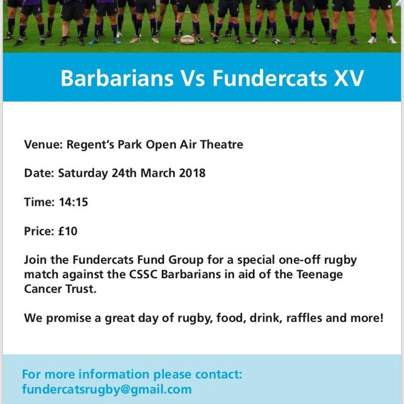 #GAMEON - Barbarians vs Fundercats XV Saturday 24th March 2018