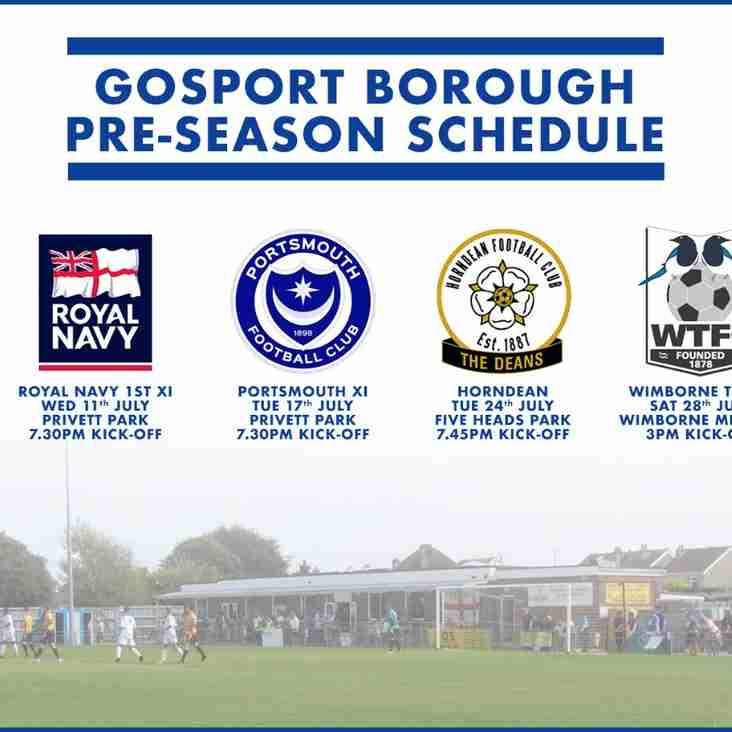 Pre-Season friendly programme confirmed