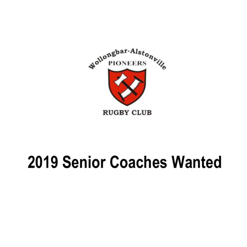 2019 Senior Coaches and Managers wanted