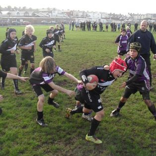 Exmouth under 11's play another good half of rugby but tire in 2nd half