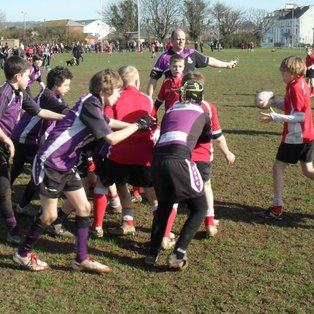 Exmouth U11's lose to a very organised Exeter Saracens side