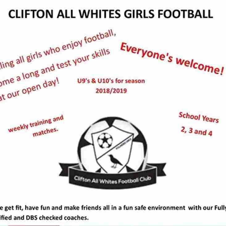 Clifton All Whites U9 & U10 Girls Wanted for 2018/19 season