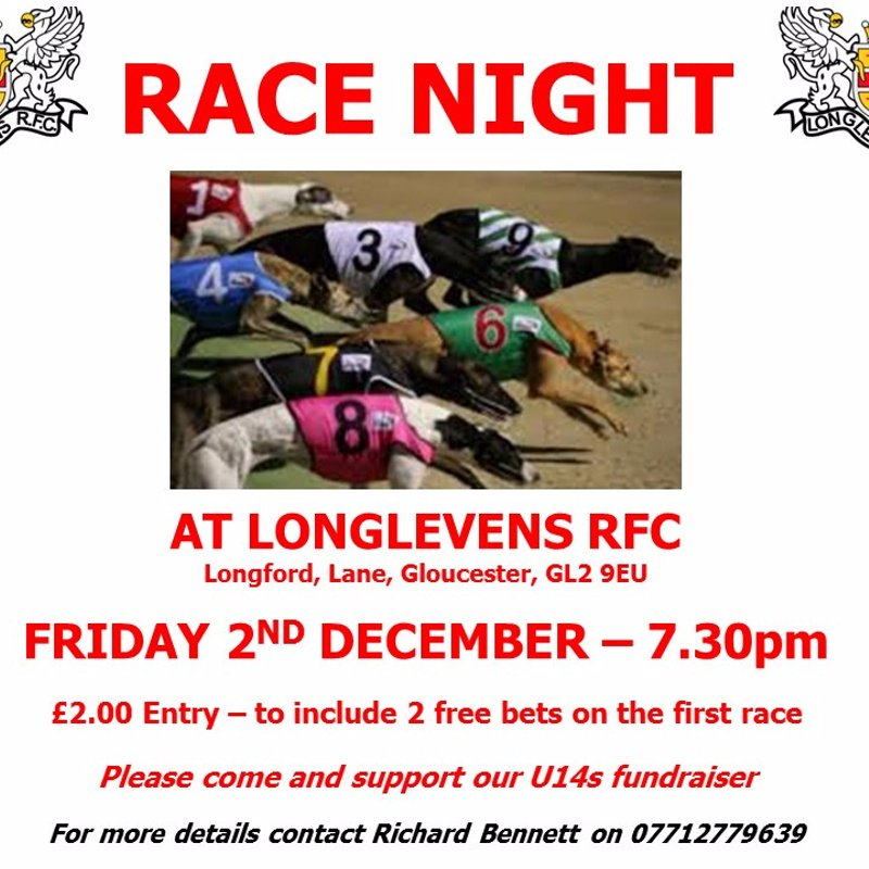 Dog Race Night - U14s fundraiser