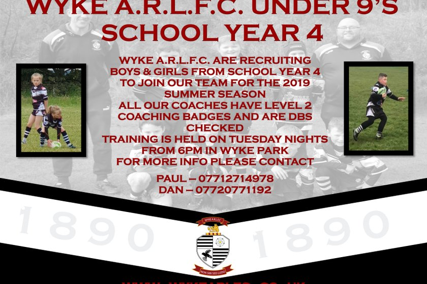 WYKE A.R.L.F.C Under 9s Are Recruiting