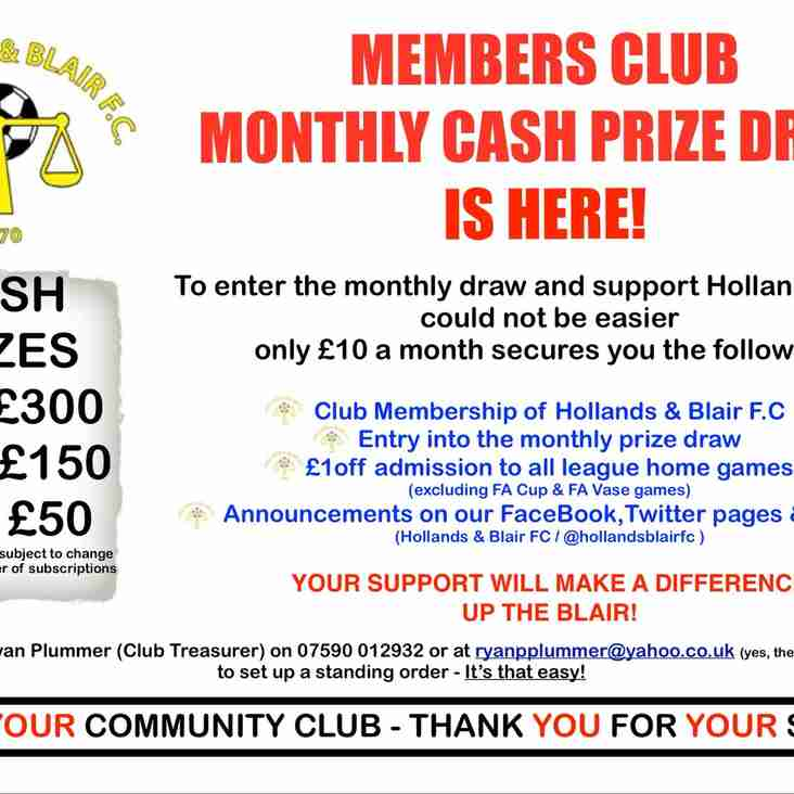 Hollands & Blair Members Club Monthly Cash Prize Draw