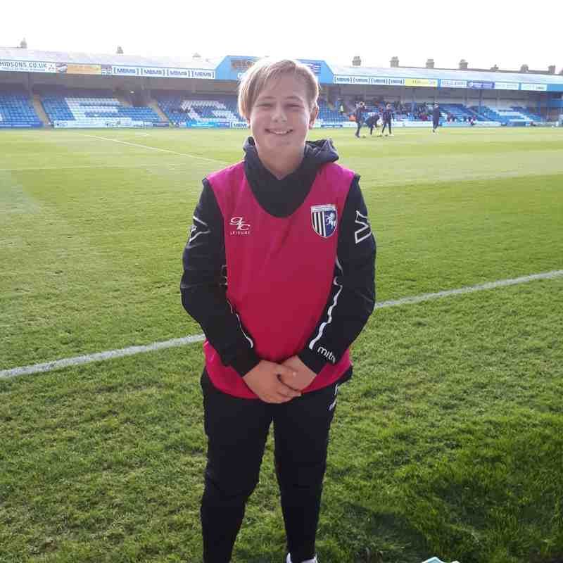 Under 13s ball boys at Gillingham FA Cup game