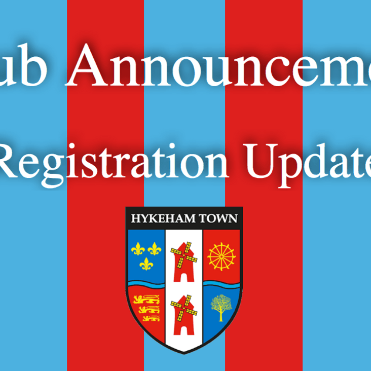 CLUB ANNOUNCEMENT: REGISTRATION UPDATE<
