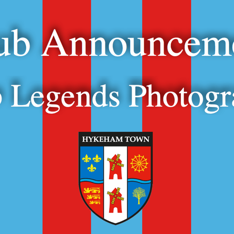 CLUB ANNOUNCEMENT: CLUB LEGENDS PHOTOGRAPHY