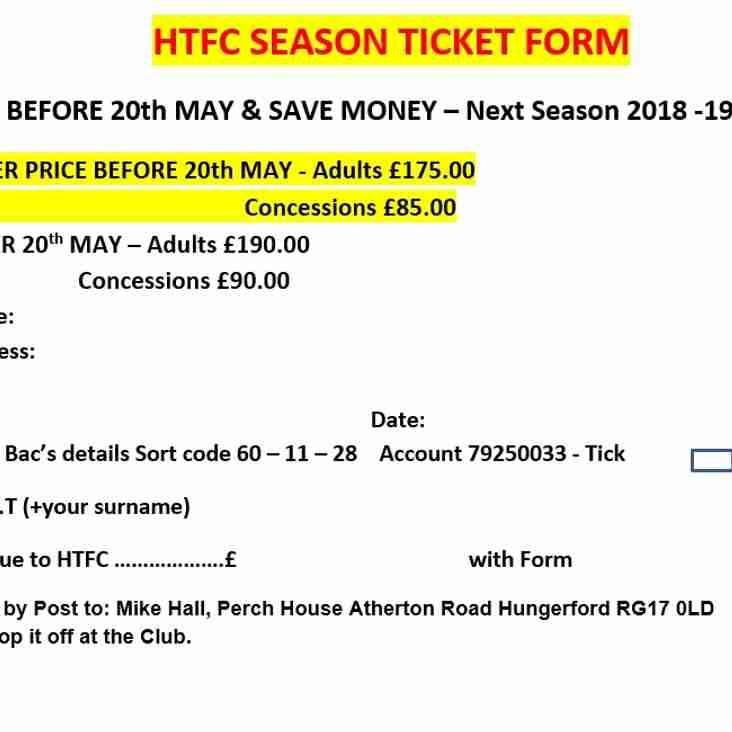 HTFC Season Ticket Form.