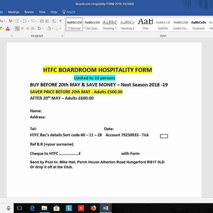 HTFC Boardroom Hospitality Form