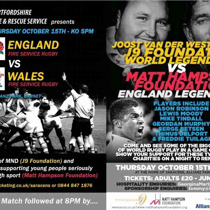International Fire service and legends charity rugby