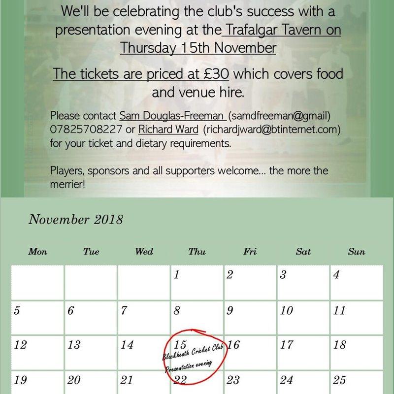 Club Dinner (15th November)