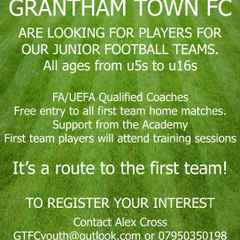 Players wanted for the Grantham Town FC Youth Teams