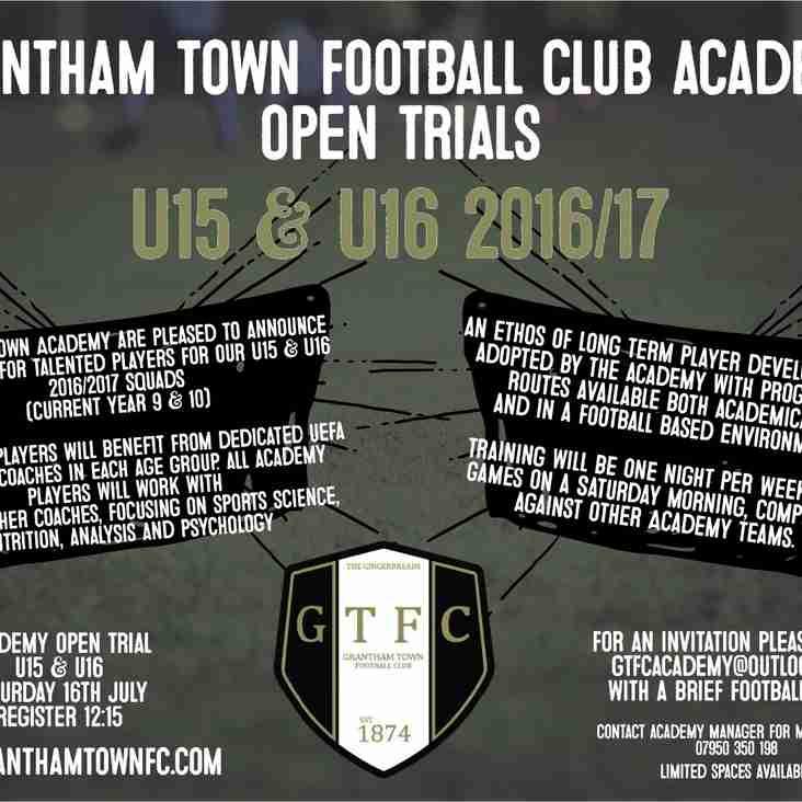 Grantham Town FC Academy U15 & U16 Open Trials for 2016/17