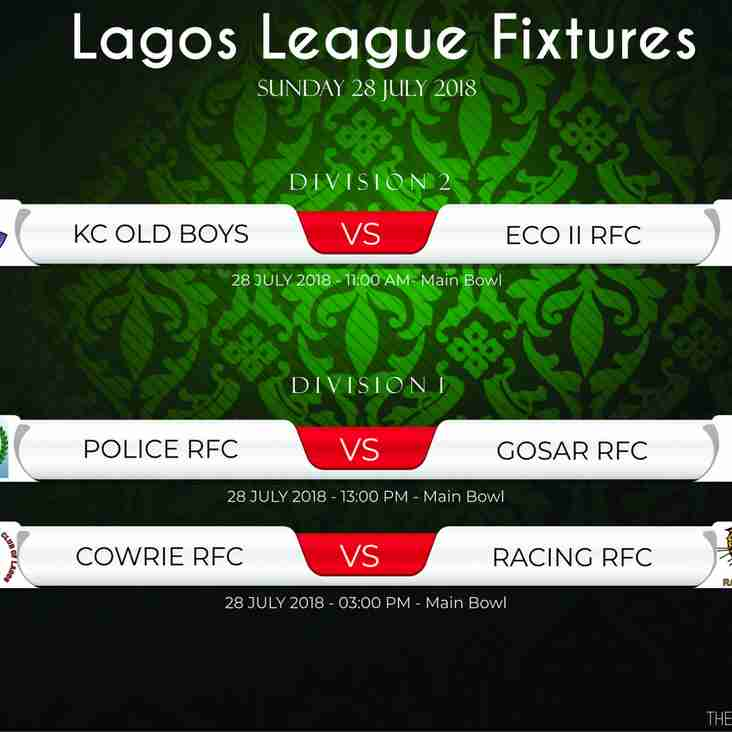LAGOS RUGBY LEAGUE  WEEK 5 RUGBY MATCHES ON SATURDAY 28 JULY 2018