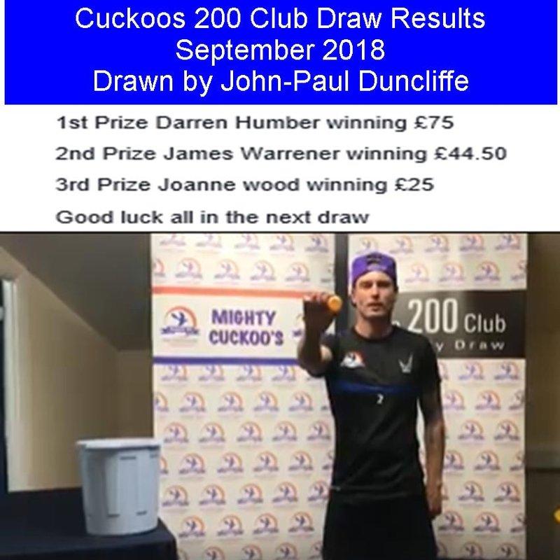 September 200 Club Winners
