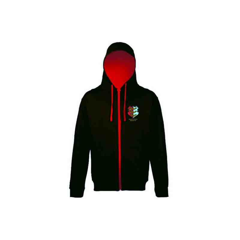 Black Hoodie with Red Inner