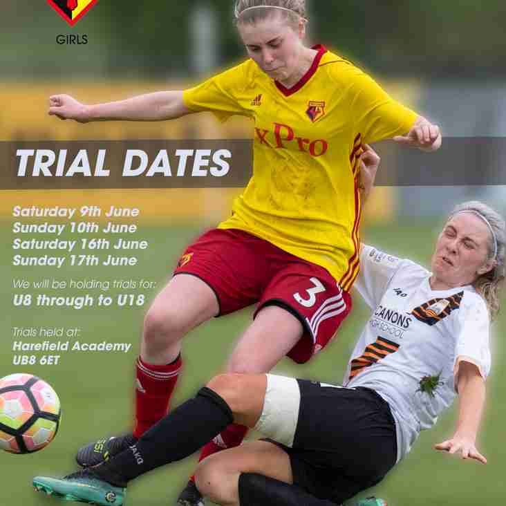 Trials dates for 2018/19 Season