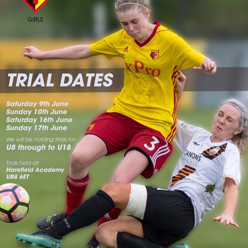 Trials dates for 2018/19 Season