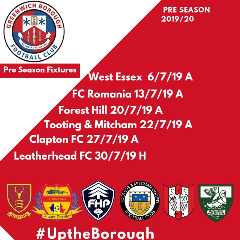 GREENWICH BOROUGH PRE SEASON