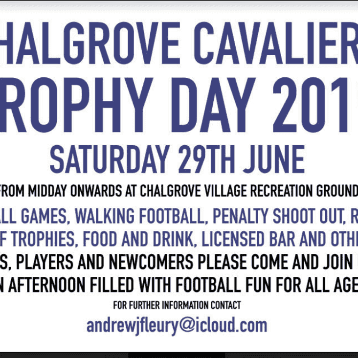 Cavaliers Trophy Day & Club open day Saturday 29th June