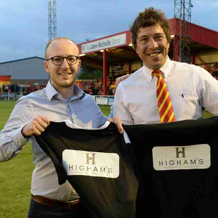 Higham's Mortgage and Protection sponsor pre-match kit