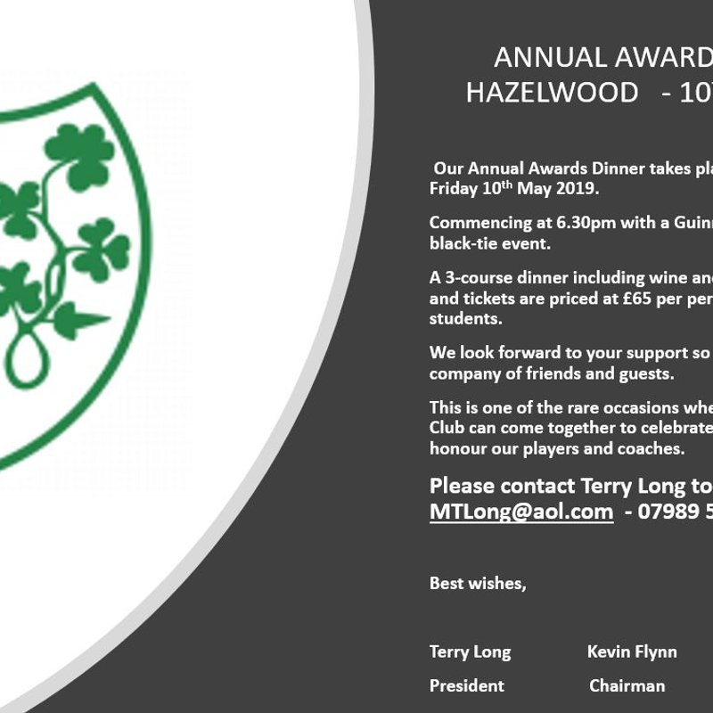 London Irish ARFC Awards Dinner