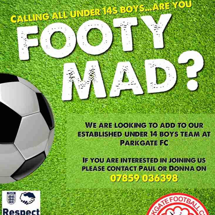 PARKGATE UNDER 14's NEED NEW PLAYERS!