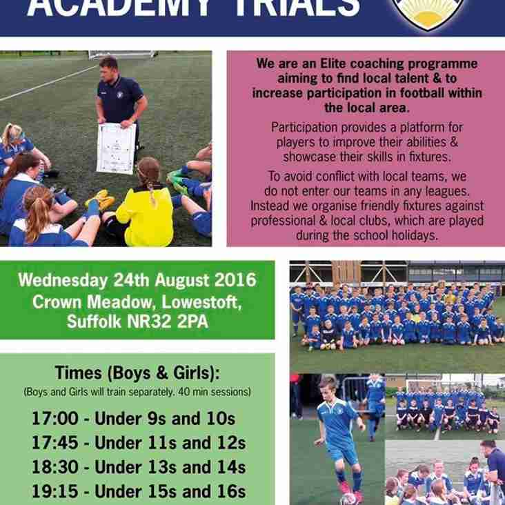 Academy Trials with Lowestoft Town FC