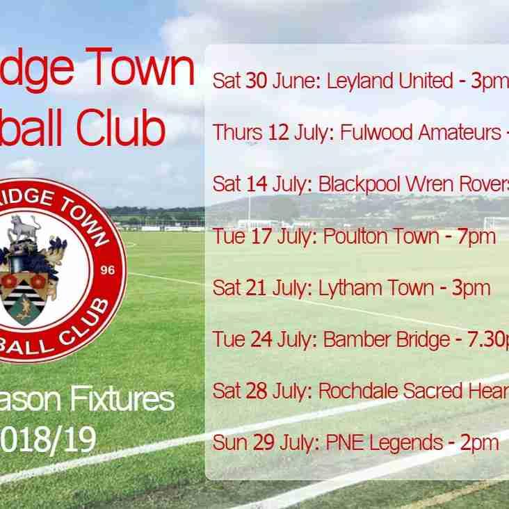 Pre-Season Fixtures Announced
