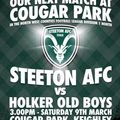COMING UP - HOME FIXTURE:  Saturday 9th March