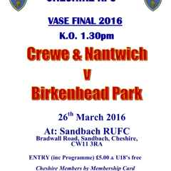 Big club day at the Cheshire Vase Final on Tues 26th April