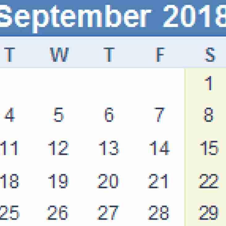 2018-2019 LEAGUE START & FINISH DATES